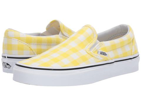 Incaltaminte Femei Vans Classic Slip-Ontrade (Gingham) Blazing YellowTrue White