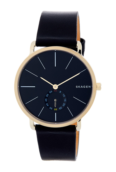 Ceasuri Barbati Skagen Mens Hagen Leather Strap Watch 40mm BLACK-GOLD
