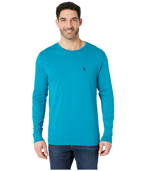 Imbracaminte Barbati US Polo Assn Long Sleeve Crew Neck T-Shirt Shocking Peacock