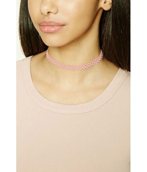 Bijuterii Femei Forever21 Cutout Crochet Choker Pink