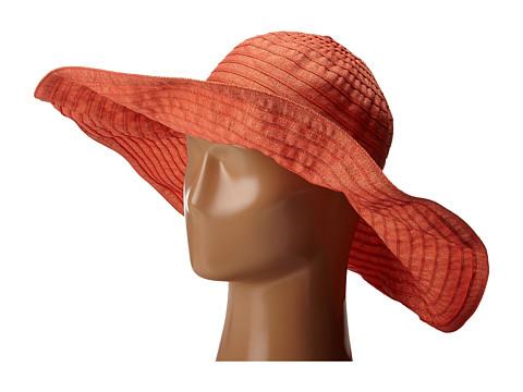 Accesorii Femei San Diego Hat Company RBXL291 6 Inch Brim Gold Shimmer Ribbon Hat with Wired Sun Brim Coral