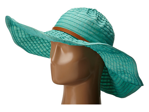 Accesorii Femei San Diego Hat Company RBXL291 6 Inch Brim Gold Shimmer Ribbon Hat with Wired Sun Brim Teal