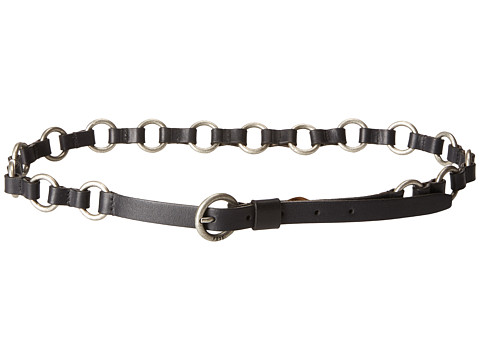 Accesorii Femei Frye 13mm Leather and Metal Ring Belt on Logo Harness Buckle BlackAntique Nickel