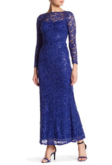 Imbracaminte Femei Marina Long Sleeve Lace Gown COBALT
