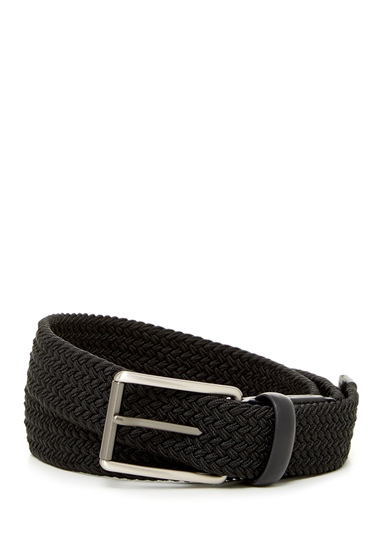Accesorii Barbati Original Penguin Woven Elastic Leather Belt BLACK