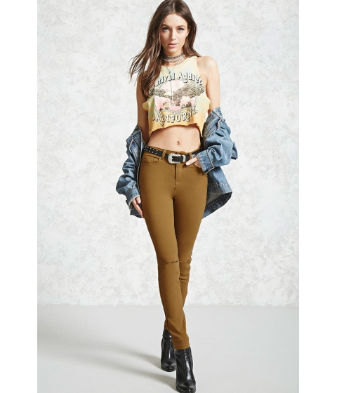 Imbracaminte Femei Forever21 Ripped Knee Skinny Jeans Coffee