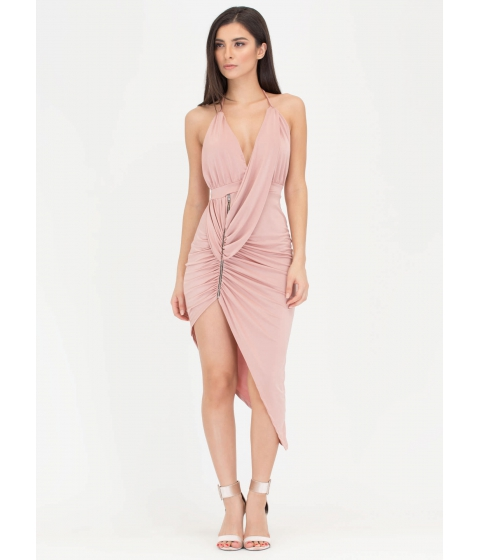 Imbracaminte Femei CheapChic Hot Zip Ruched High-low Halter Dress Mauve