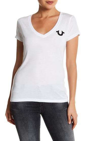 Imbracaminte Femei True Religion Classic Logo Deep V-Neck Tee WHITE