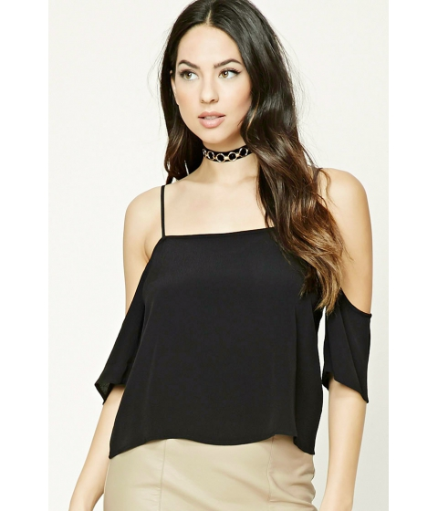 Imbracaminte Femei Forever21 Open-Shoulder Crop Top Black