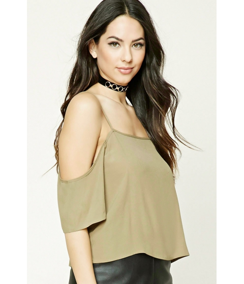 Imbracaminte Femei Forever21 Open-Shoulder Crop Top Olive