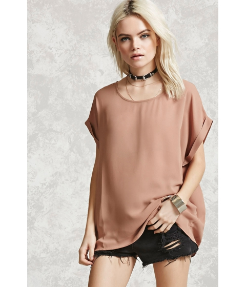 Imbracaminte Femei Forever21 Sheer Cuffed-Sleeve Top Camel