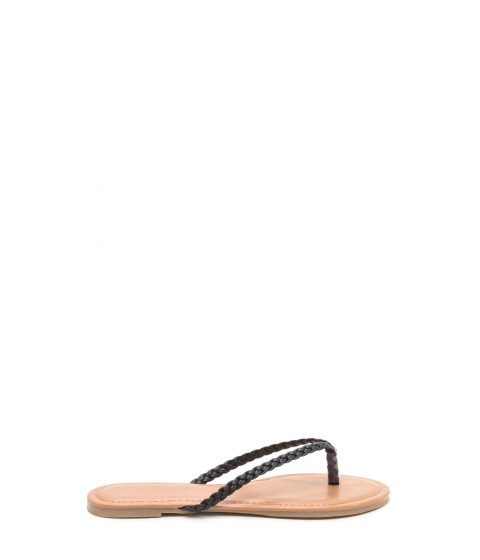 Incaltaminte Femei CheapChic First Braid Faux Leather Thong Sandals Black