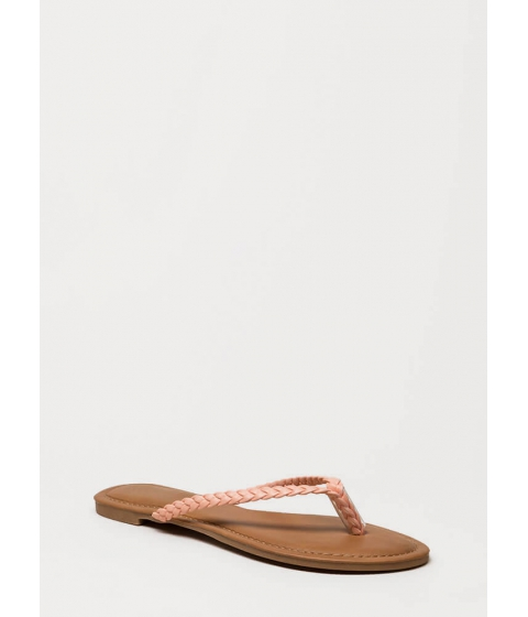 Incaltaminte Femei CheapChic First Braid Faux Leather Thong Sandals Blush