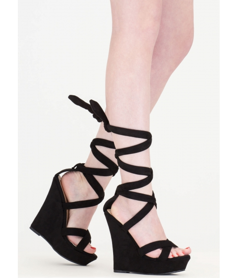 Incaltaminte Femei CheapChic Strap Happy Faux Suede Lace-up Wedges Black