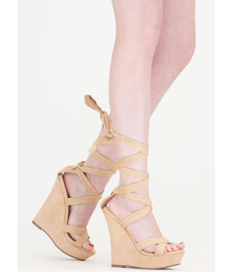 Incaltaminte Femei CheapChic Strap Happy Faux Suede Lace-up Wedges Nude