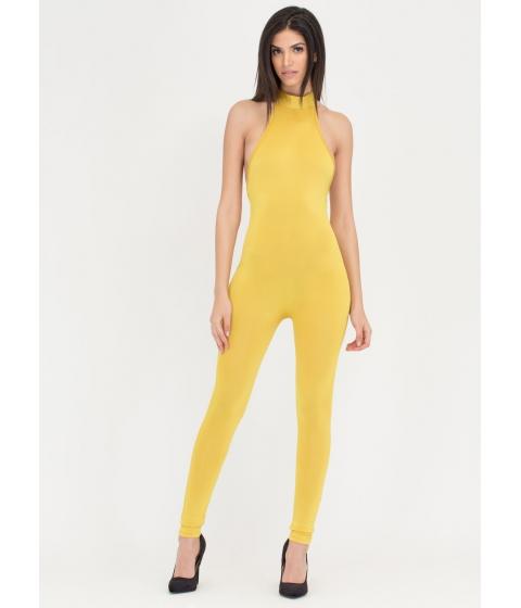 Imbracaminte Femei CheapChic Tied To The Finish Mockneck Jumpsuit Mustard