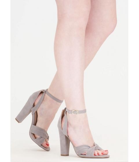 Incaltaminte Femei CheapChic Knotty Idea Chunky Faux Suede Heels Grey