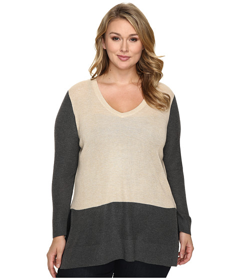 Incaltaminte Femei Vince Camuto Plus Size Long Sleeve V-Neck Neck Waffle-Stitch Color Block Sweater Mushroom Heather