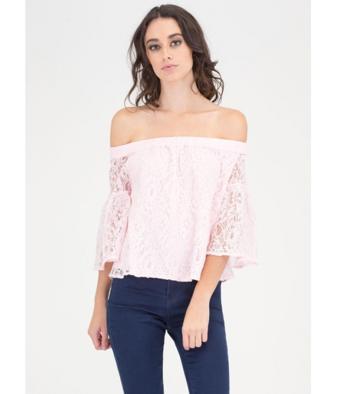 Imbracaminte Femei CheapChic Que Bell-a Floral Lace Off-shoulder Top Pink