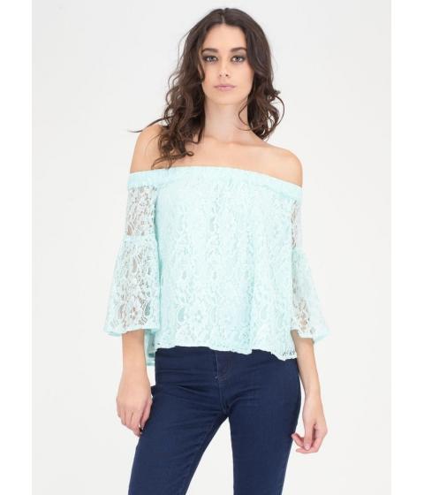 Imbracaminte Femei CheapChic Que Bell-a Floral Lace Off-shoulder Top Blue