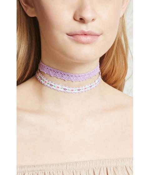 Bijuterii Femei Forever21 Crochet and Floral Choker Set Lavender