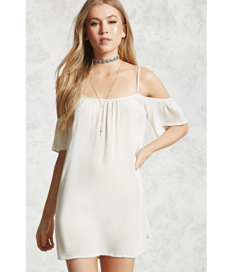 Imbracaminte Femei Forever21 Crinkled Open-Shoulder Dress Natural