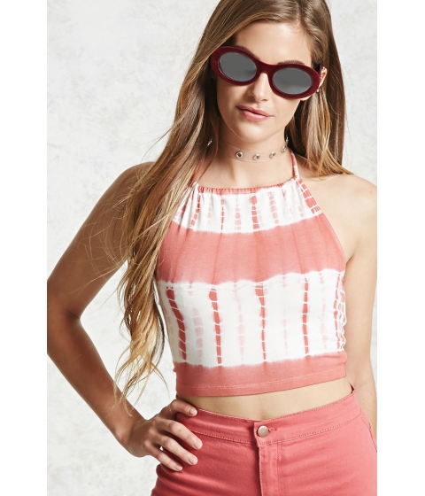 Imbracaminte Femei Forever21 Tie-Dye Halter Crop Top Redcream