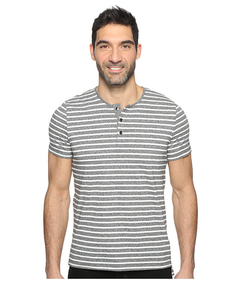 Imbracaminte Barbati Kenneth Cole Short Sleeve Marled Stripe Henley Black