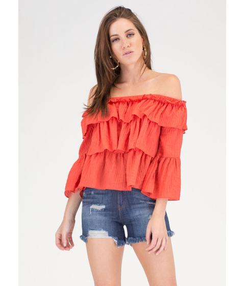 Imbracaminte Femei CheapChic Textured Tale Ruffled Off-shoulder Top Dkorange