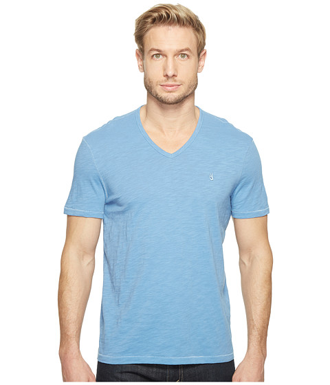 Imbracaminte Barbati Timberland Slub Short Sleeve Peace V-Neck with Peace Sign Chest Embroidery K3037T1B Ocean Blue