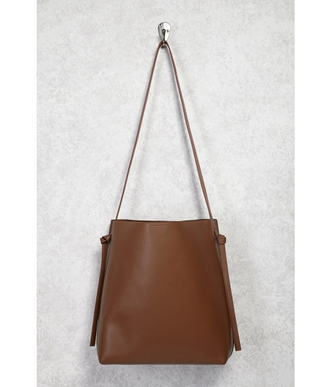 Genti Femei Forever21 Faux Leather Shoulder Tote Bag Brown