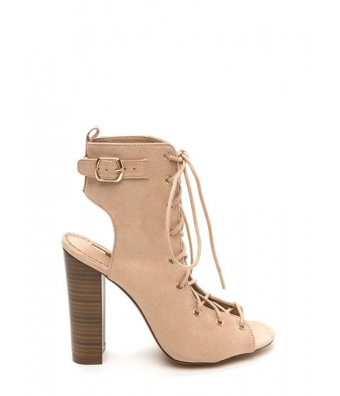 Incaltaminte Femei CheapChic High Power Chunky Laced Faux Suede Heels Nude