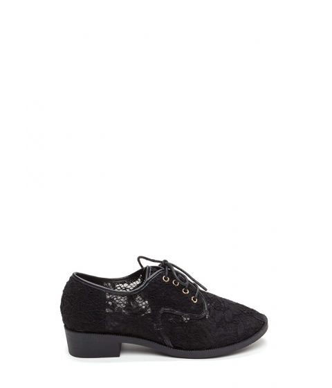 Incaltaminte Femei CheapChic Lost In Lace Chunky Oxford Flats Black