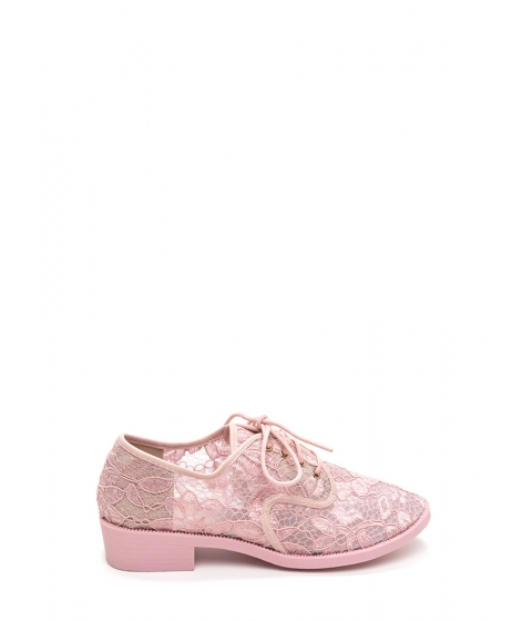 Incaltaminte Femei CheapChic Lost In Lace Chunky Oxford Flats Pink
