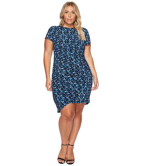 Imbracaminte Femei London Times Plus Size Abstract Flece Side Ruched Sheath Dress Blue