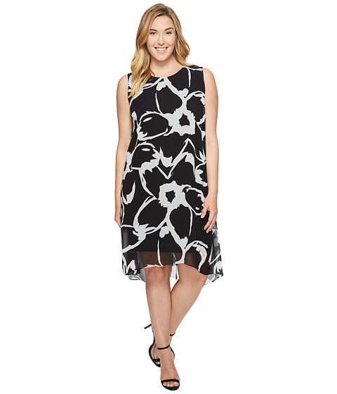 Imbracaminte Femei Vince Camuto Plus Size Sleeveless Cut Out Floral Chiffon Overlay Dress Rich Black