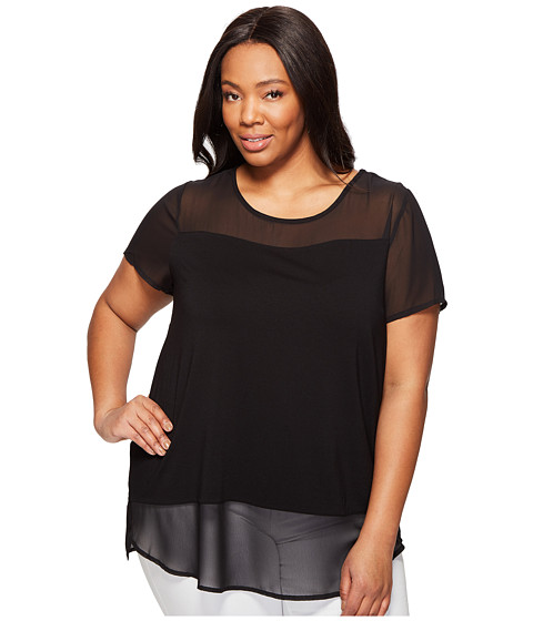 Imbracaminte Femei Vince Camuto Plus Size Short Sleeve Top w Poly Chiffon Yoke and Hem Rich Black