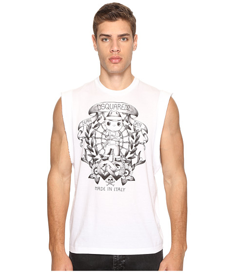 Imbracaminte Barbati DSQUARED2 Street Ska Sleeveless T-Shirt White