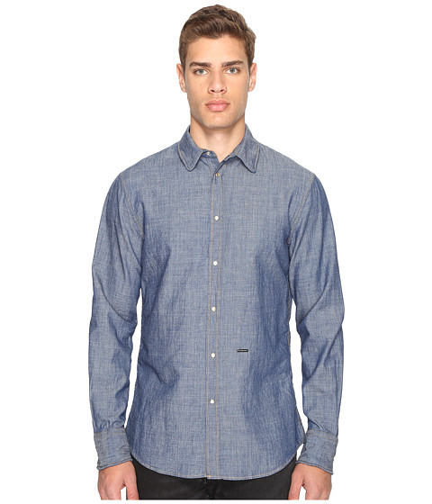 Imbracaminte Barbati DSQUARED2 CottonLinen Metal Wire Collar Shirt Blue