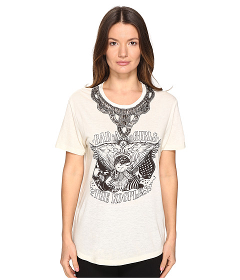 Imbracaminte Femei The Kooples Embroidery Mix Linen Short Sleeve Tee Ecru