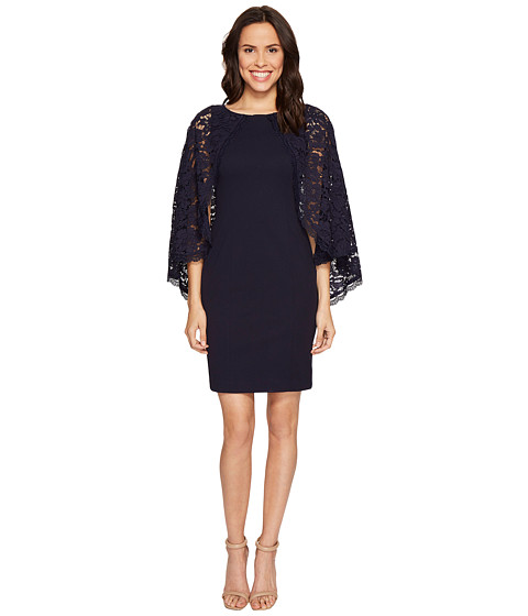 Imbracaminte Femei Adrianna Papell Cynthia Lace Cape Sheath Dress Navy