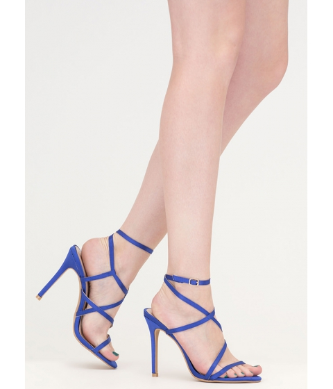 Incaltaminte Femei CheapChic Strappy Happy Caged Satin Heels Blue