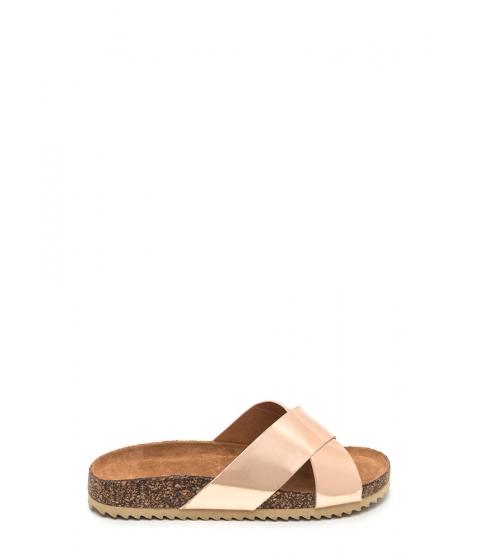Incaltaminte Femei CheapChic X-press Yourself Metallic Slide Sandals Rosegold