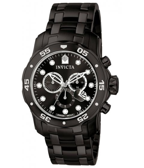 Ceasuri Barbati Invicta Watches Invicta Mens 0076 Pro Diver Collection Chronograph Black Ion-Plated Stainless Steel Watch BlackBlack
