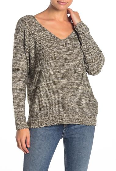 Imbracaminte Femei SUSINA V-Back Marled Knit Sweater Petite OLIVE MARL