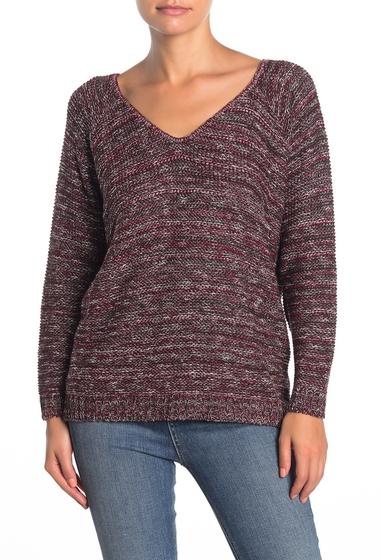 Imbracaminte Femei SUSINA V-Back Marled Knit Sweater Petite BURGUNDY BEET MARL