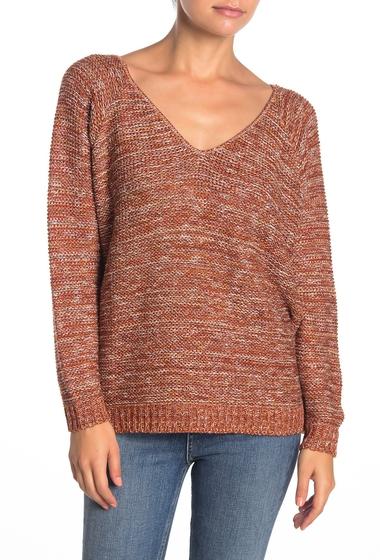 Imbracaminte Femei SUSINA V-Back Marled Knit Sweater Petite RUST CINNABAR MARL
