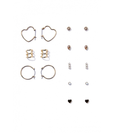 Bijuterii Femei Forever21 Stud and Hoop Earrings Set GOLDCLEAR