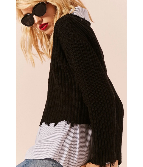 Imbracaminte Femei Forever21 Distressed Boxy Sweater BLACK