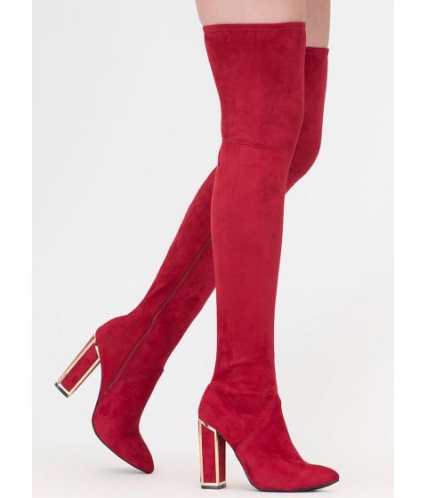 Incaltaminte Femei CheapChic Frame Game Faux Suede Thigh-high Boots Red